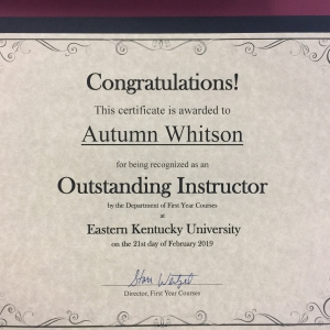 Autumn Whitson Recognized for Excellence in Teaching First Year Courses